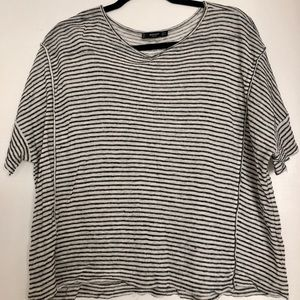 Striped boxy crop tee